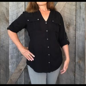 Black button front shirt